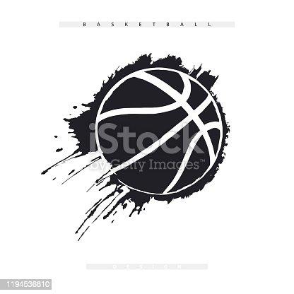 Esfera abstrata do basquetebol isolada no fundo branco. Estampa esportiva para camisetas. Grunge bola rasgada voando.