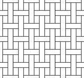 Abstract basketwork seamless pattern, black grating line on white backdrop. Design geometric texture for print. Linear style, vector illustration