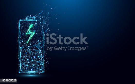 istock Abstract Battery Charging Icon form lines and triangles, point connecting network on blue background. Illustration vector 934605526