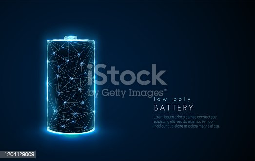 istock Abstract battery icon. Low poly style design. 1204129009