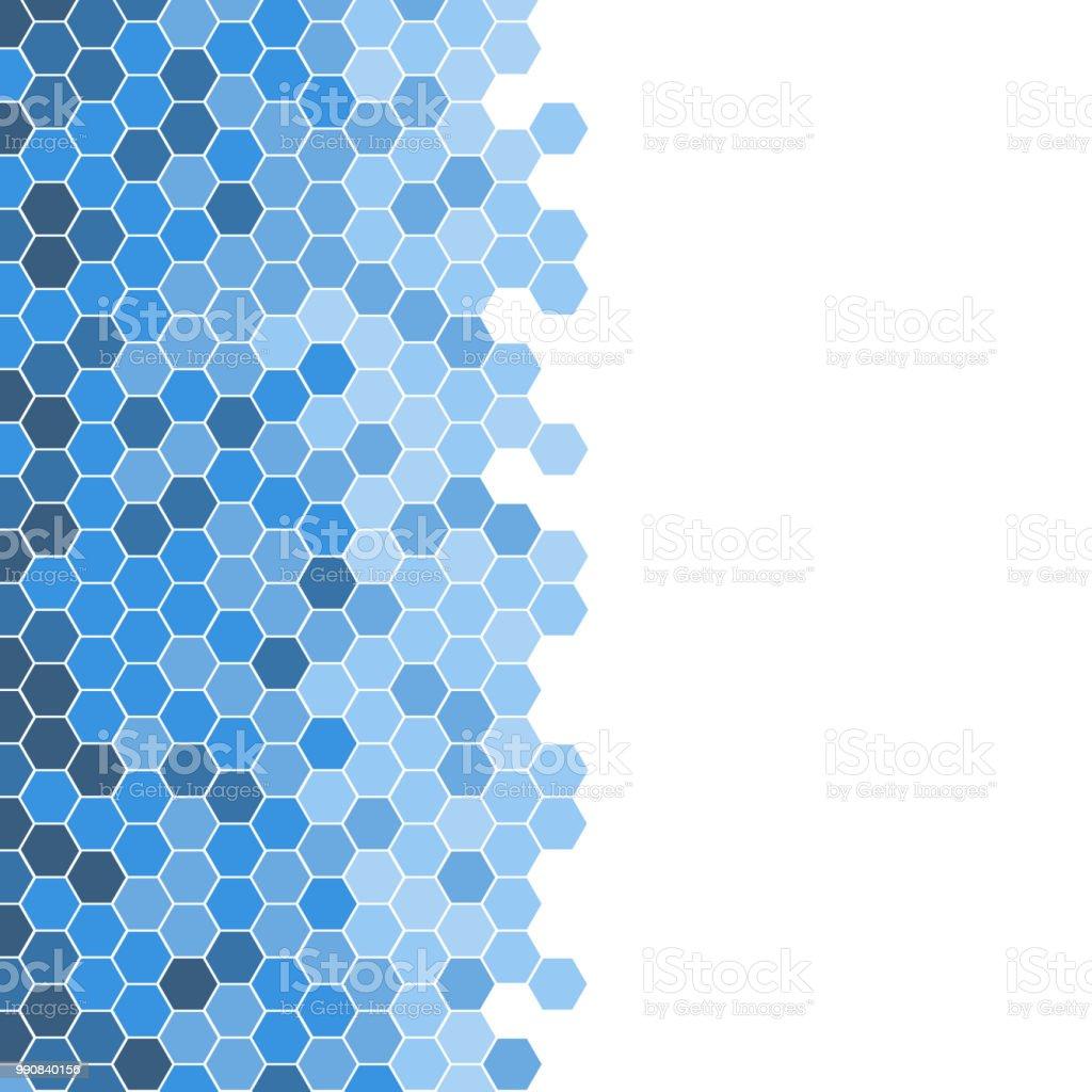 Abstract Beautiful Blue Hexagonal Tile Mosaic Pattern