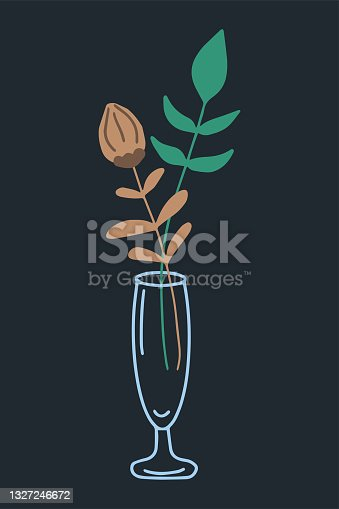 Abstract beautiful boho flower and branch in glass vase Modern plant for decoration