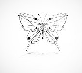 Abstract butterfly consist with dots and lines