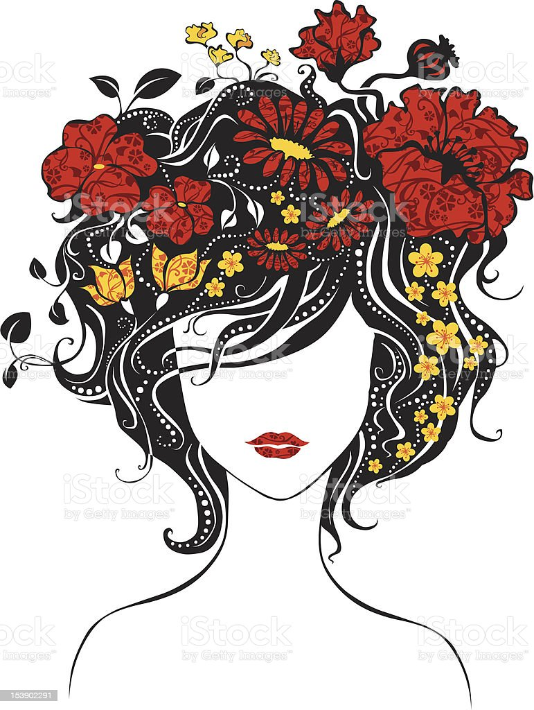 Abstract beautiful girl with flowers in hair vector art illustration