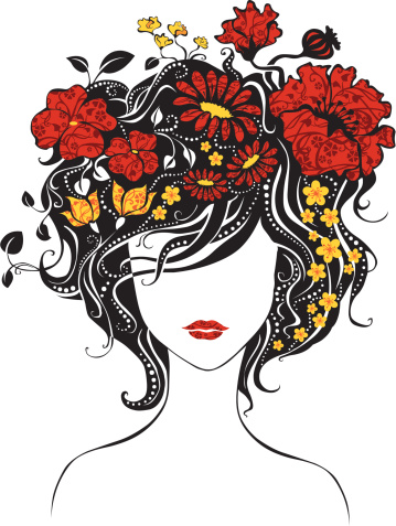 Abstract Beautiful Girl With Flowers In Hair Stock Illustration - Download Image Now