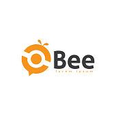 abstract bee logo design template. bee logo icon