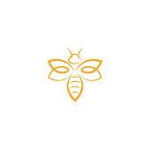 abstract Bee Logo design vector template. Outline icon, Creative bee logo concept, vector logo illustration.