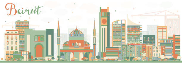abstract beirut skyline with color buildings. - beirut stock illustrations