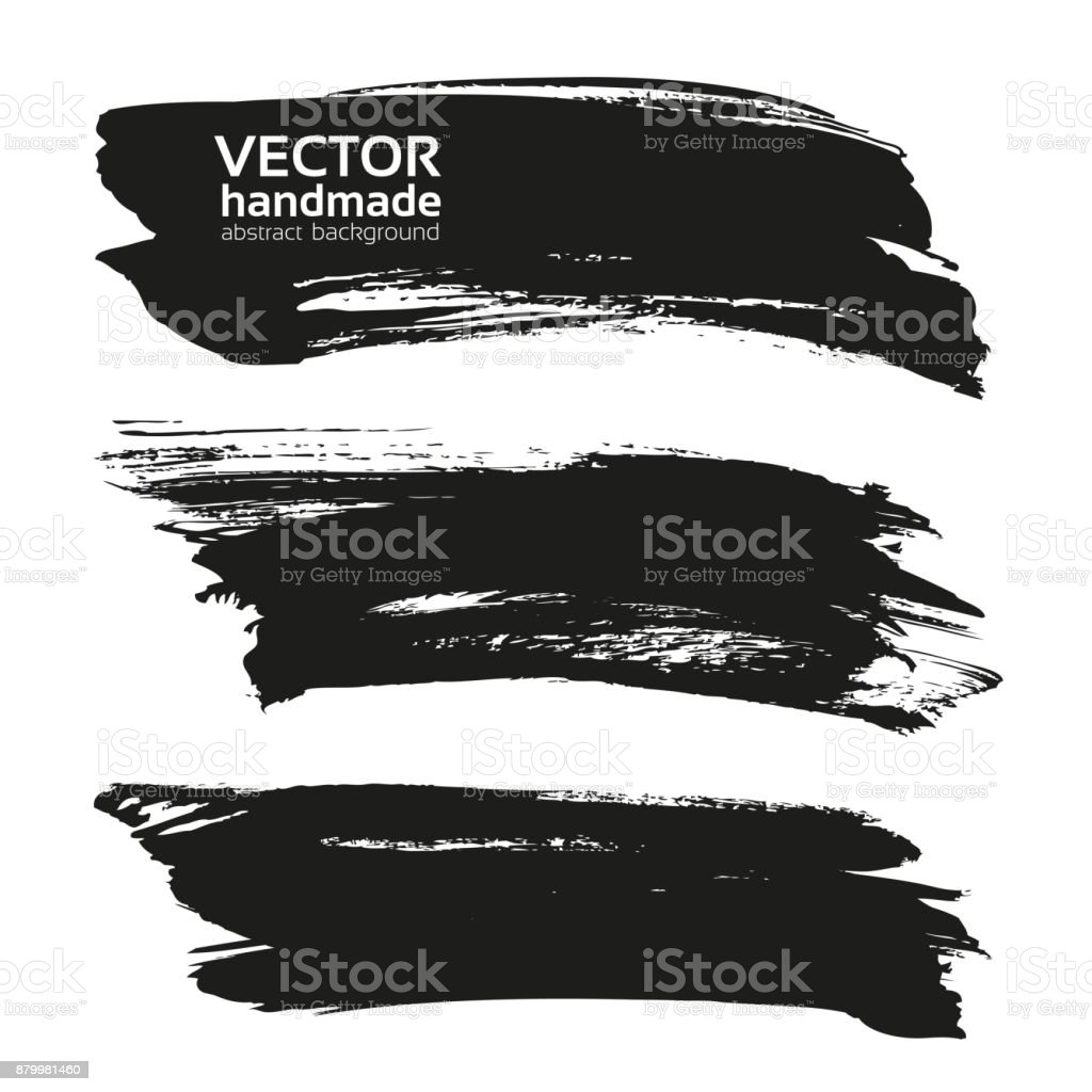 Abstract big black long textured strokes isolated on a white background