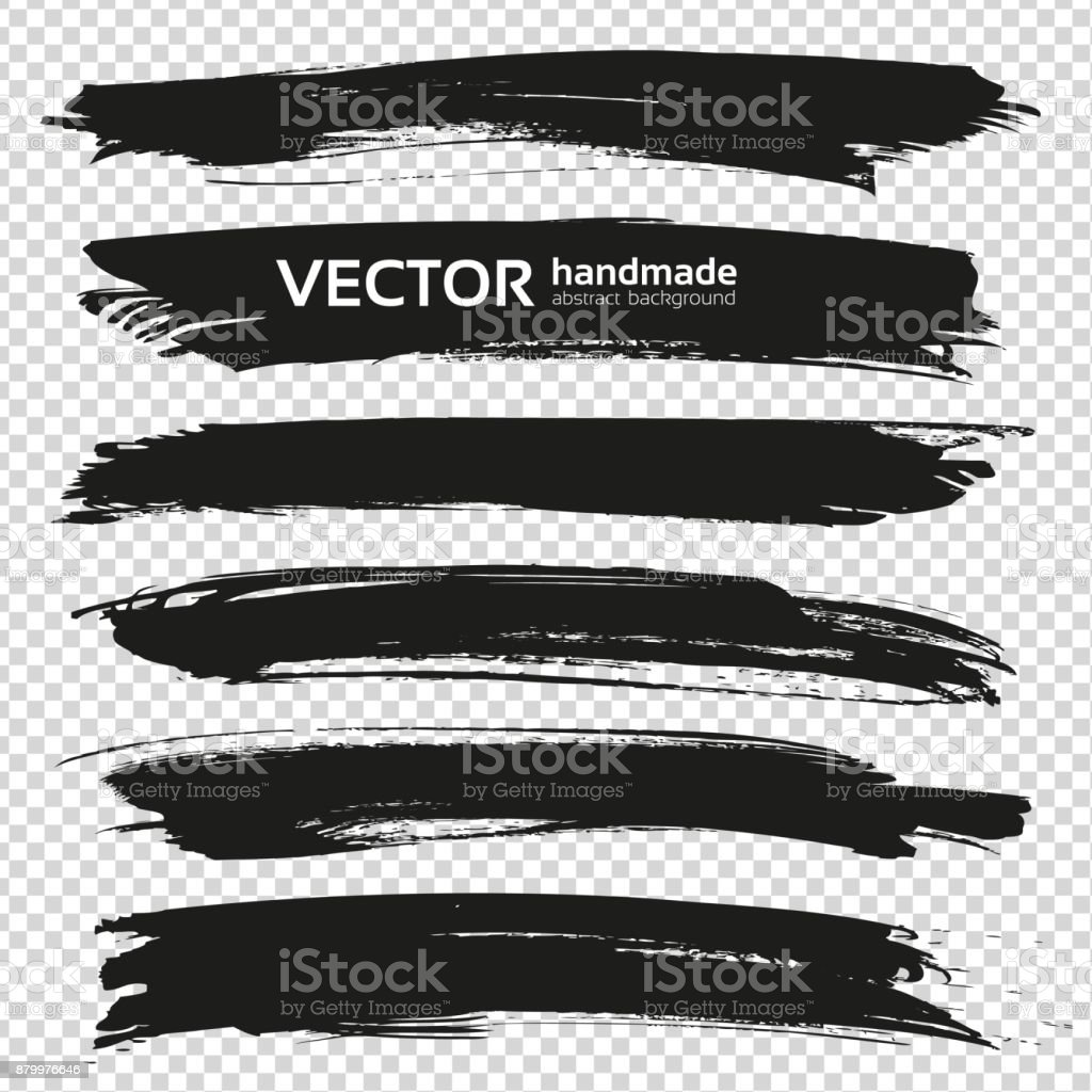 Abstract big black long thick brush strokes set isolated on imitation transparent background vector art illustration