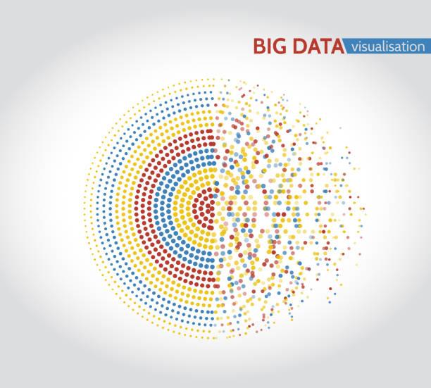 抽象大資料機器學習演算法。向量藝術插圖