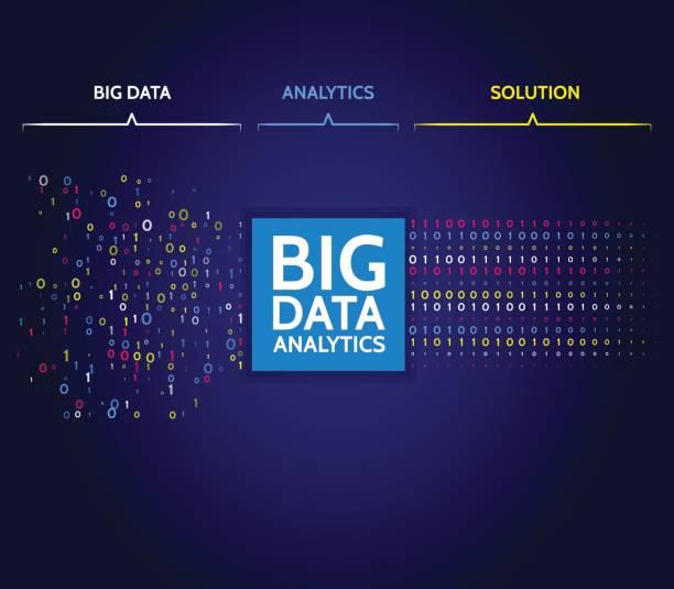 Abstract big data sorting information. Analysis of Information. Data mining. Filtering machine algorithms. - illustrazione arte vettoriale