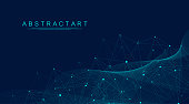 Abstract Big Data visualization digital network connection concept background. Artificial intelligence and engineering technology. Global network, Lines plexus, minimal array. Vector illustration
