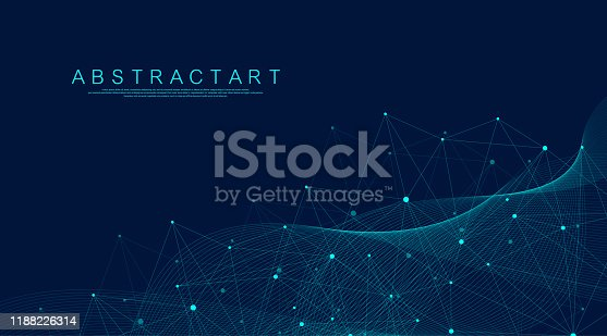istock Abstract Big Data visualization digital network connection concept background. Artificial intelligence and engineering technology. Global network, Lines plexus, minimal array. Vector illustration. 1188226314