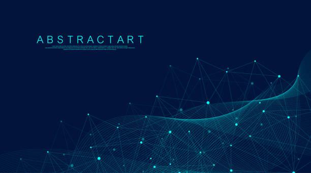 abstrakcyjna koncepcja cyfrowego połączenia sieciowego big data. sztuczna inteligencja i technologia inżynieryjna. globalna sieć, linie splotu, minimalna macierz. ilustracja wektorowa. - sieć komputerowa stock illustrations