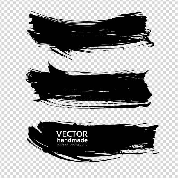 abstract big textured black smears isolated on imitation transparent background - uderzać stock illustrations