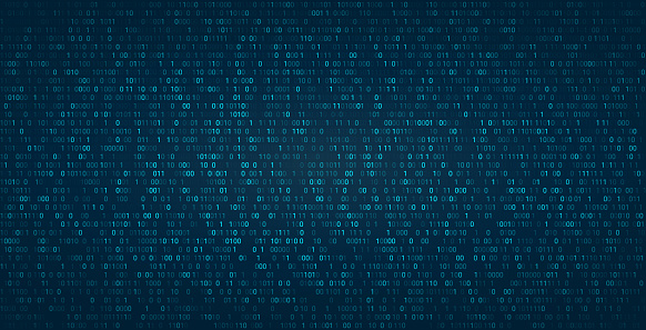 Abstract binary background for hackathon and other digital events. Fallen zero numbers with matrix effect on futuristic background. Vector wallpaper template.