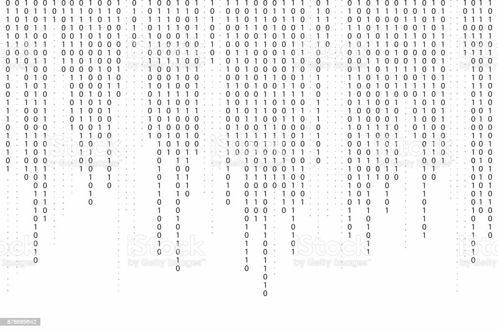 Abstract binary code background. Falling, streaming binary code background. Digital technology wallpaper vector art illustration