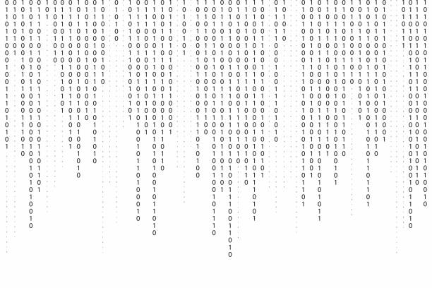 abstract binary code background. falling, streaming binary code background. digital technology wallpaper - algorithm stock illustrations
