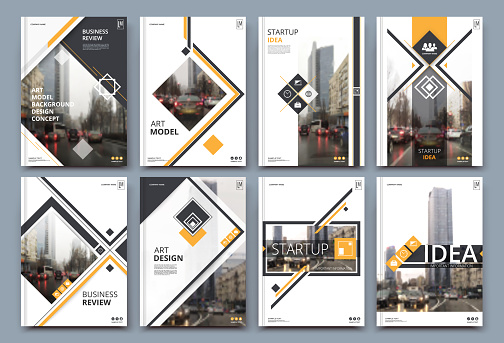Abstract binder layout. White a4 brochure cover design. Fancy info text frame. Creative ad flyer font. Title sheet model set. Modern vector front page. Elegant city banner. Yellow figures icon fiber.