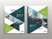 Abstract binder layout. White a4 brochure cover design. Fancy info text frame. Creative ad flyer font. Title sheet model set. Modern vector front page. City view banner. Green figure mosaic icon