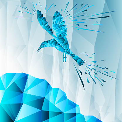 Abstract bird flying over the mountain. Low poly design