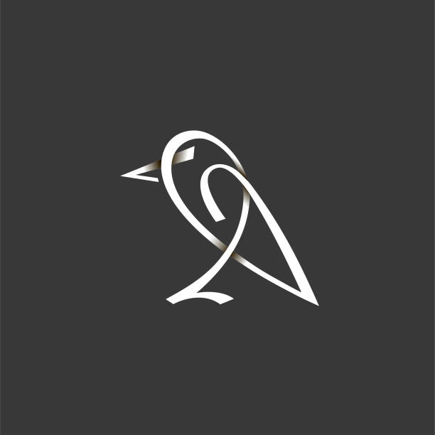 Abstract bird icon Abstract illustration of a sitting bird in linear style with shadows. animal stock illustrations