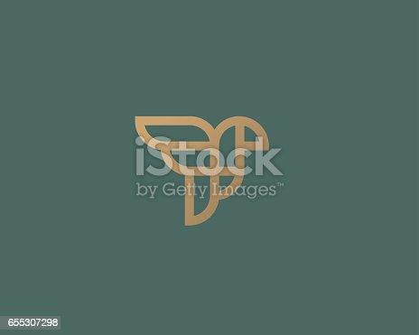 Abstract bird logo design. Creative eagle line symbol. Luxury linear falcon hawk logotype