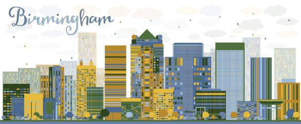 Abstract Birmingham (Alabama) Skyline with color Buildings vector art illustration