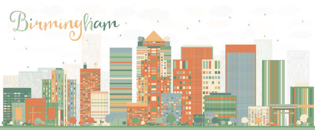 Abstract Birmingham Skyline with Color Buildings. vector art illustration