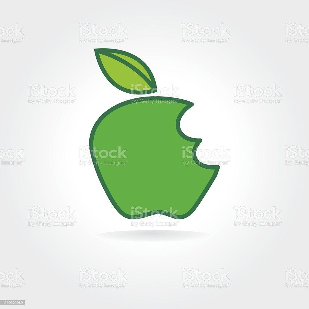 Abstrakte Bitten Grüner Apfel Vektorsymbolkonzept Logo Vorlage Für ...