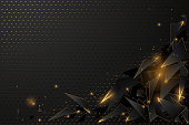 Abstract black and gold polygonal background in vector