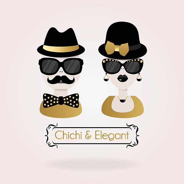 ilustrações, clipart, desenhos animados e ícones de abstrato preto e dourado chichi & elegante casal ícones na cor-de-rosa - moda urbana