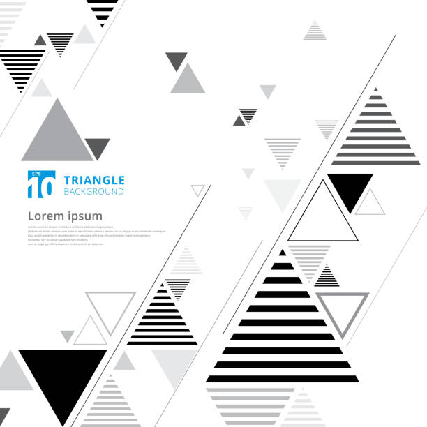 abstract black and gray triangle composition layout on white background and lines texture. - triangle shape stock illustrations