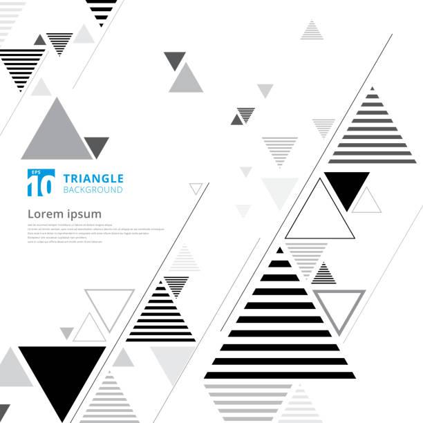 stockillustraties, clipart, cartoons en iconen met abstracte zwarte en grijze driehoek samenstelling lay-out op witte achtergrond en lijnen textuur. - driehoek