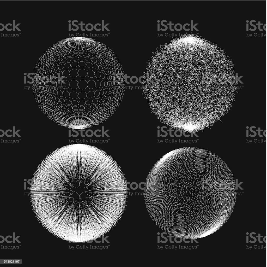 abstract black and white 3D ball pattern background vector art illustration