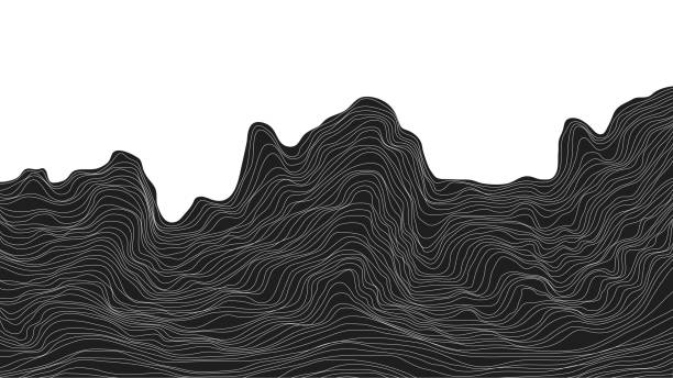 abstract black and white background dynamic particle waves vector illustration - sine wave stock illustrations