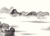 istock abstract black and white Chinese painting material background 516376377