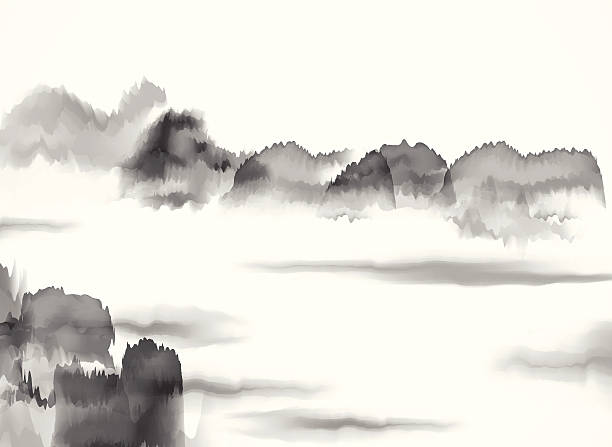 abstract black and white chinese painting material background - black and white mountain stock illustrations, clip art, cartoons, & icons