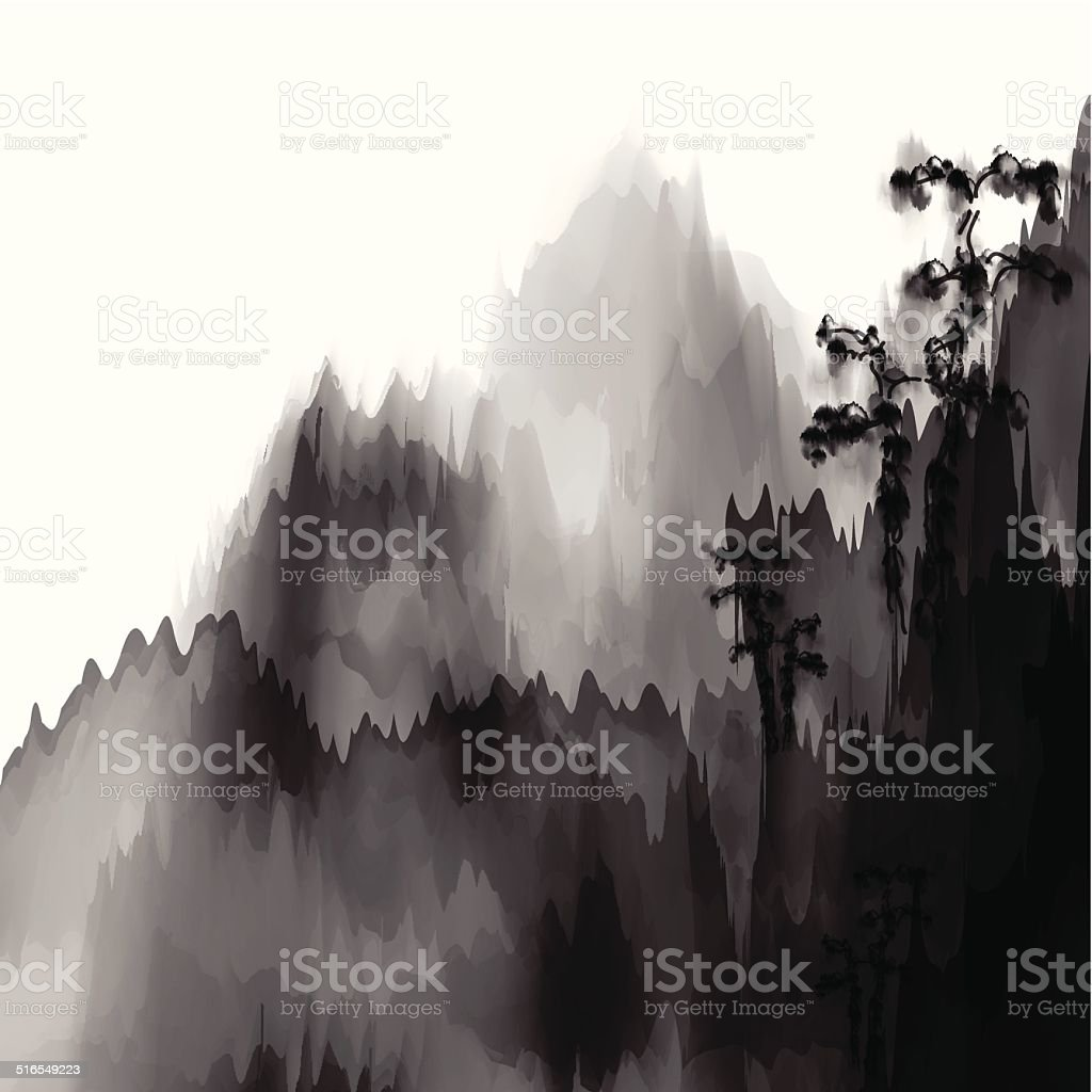 抽象的な黒と白の背景の山資料中国の絵画 のイラスト素材 516549223