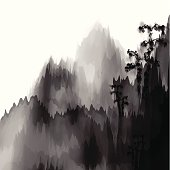 abstract black and white Chinese painting mountain material background for design.(ai eps10 with transparency effect)