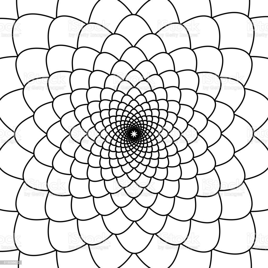 Abstract black and white fibonacci background vector art illustration