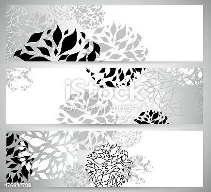 abstract black and white floral pattern banner background.(ai eps10 with transparency effect)