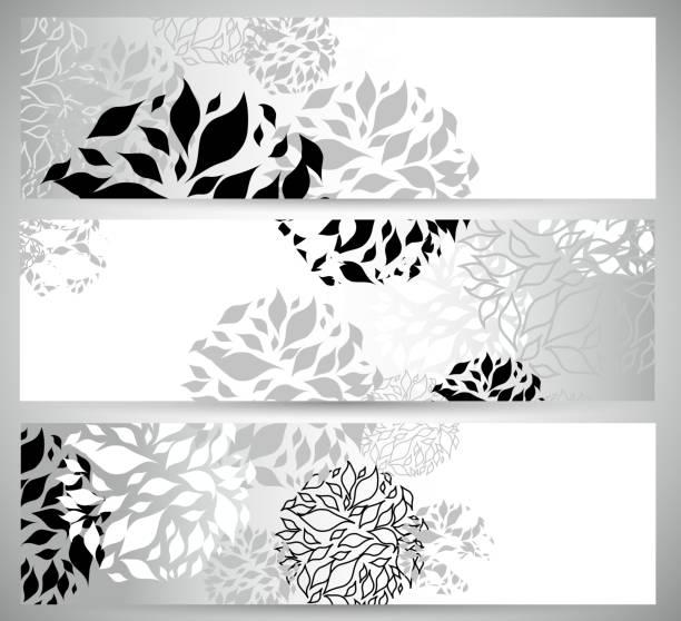 ilustraciones, imágenes clip art, dibujos animados e iconos de stock de abstracto blanco y negro florales de patrones de fondo de banner - marcos de garabatos y dibujados a mano
