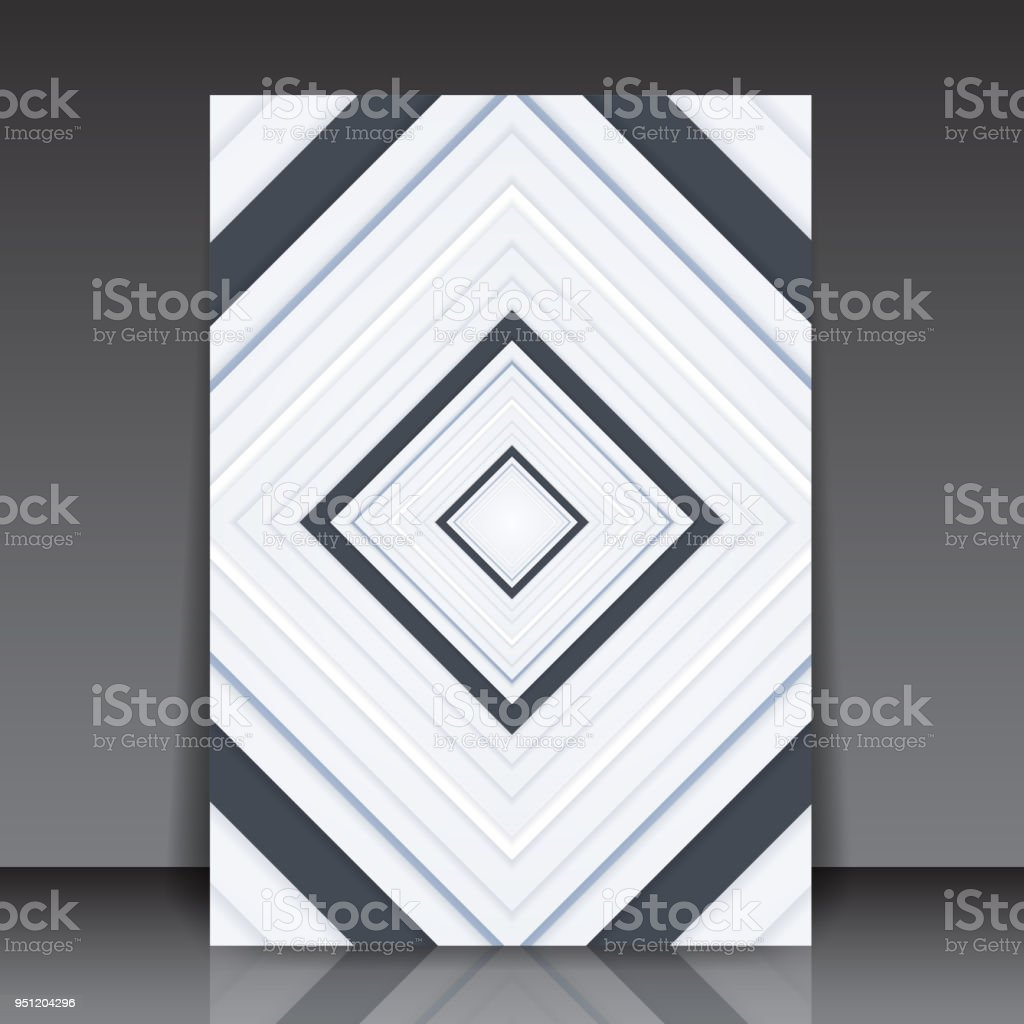Abstract Black And White Geometric Square Editable Flyer Template