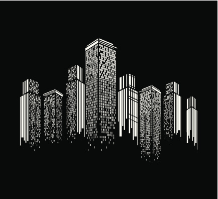 abstract black and white modern building pattern background for design