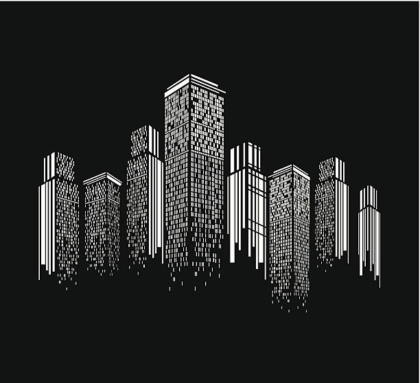 abstract black and white modern building pattern background - architecture silhouettes stock illustrations