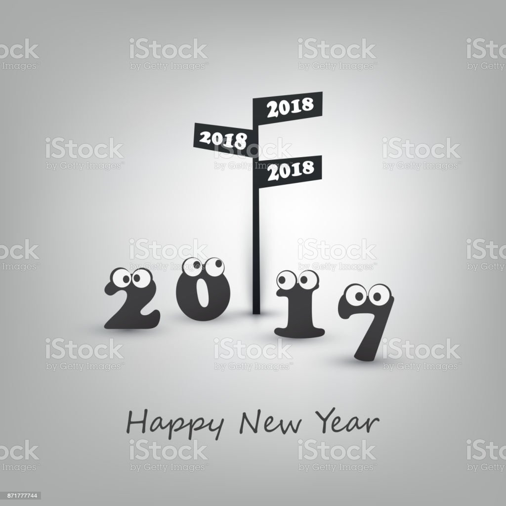 Abstract black and white modern style funny happy new year greeting abstract black and white modern style funny happy new year greeting card template 2018 royalty m4hsunfo