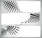 abstract black and white polka dot pattern banner background.(ai eps10 with transparency effect)