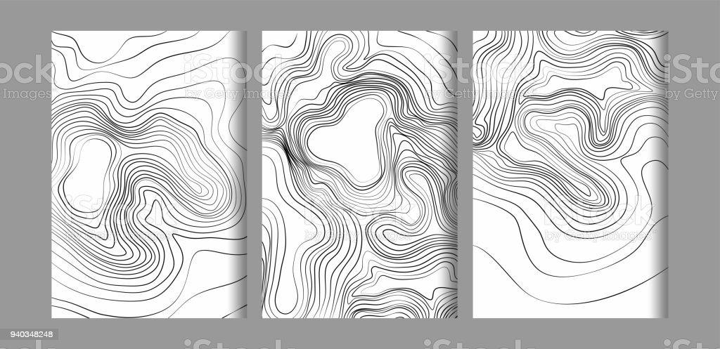 Abstrait Noir Et Blanc Topographique Des Contours Lignes De Montagnes Courbe Dart Carte